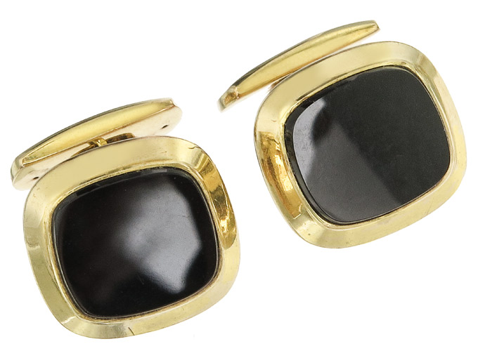 Cufflinks Onyx 8 Karat Yellow Gold