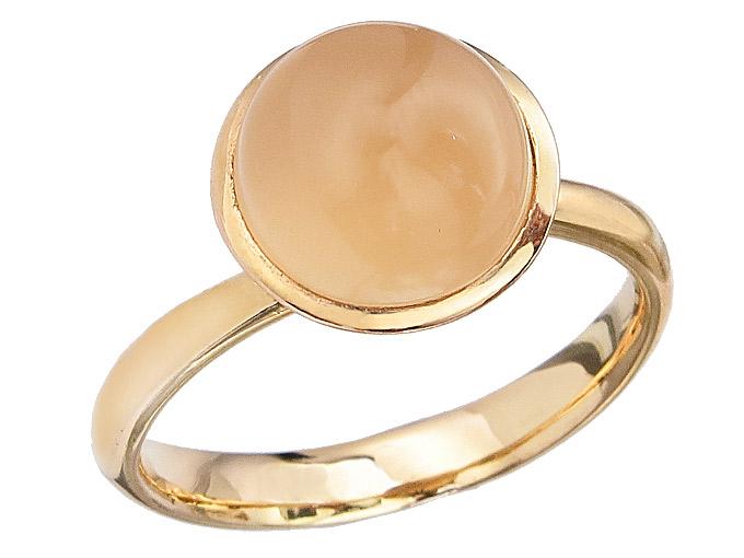 Ring Colored Stone Apricot 14 Karat Yellow Gold