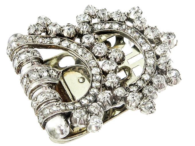 Kleider Clip Brosche Altschliff Diamanten Art Deco ca. 1920