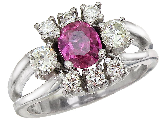 Ring Ruby Diamonds 14 Karat White Gold