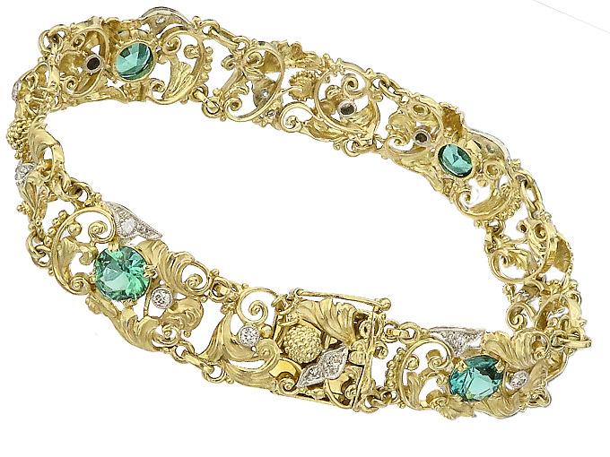 Armband Turmalin Brillanten 585er Gelbgold