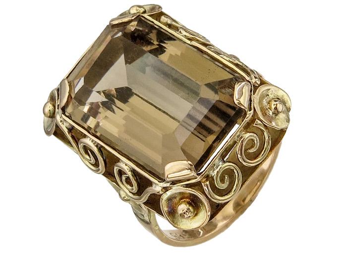 Ring Smoky Quartz 14 Karat Yellow Gold approx. 1940-50