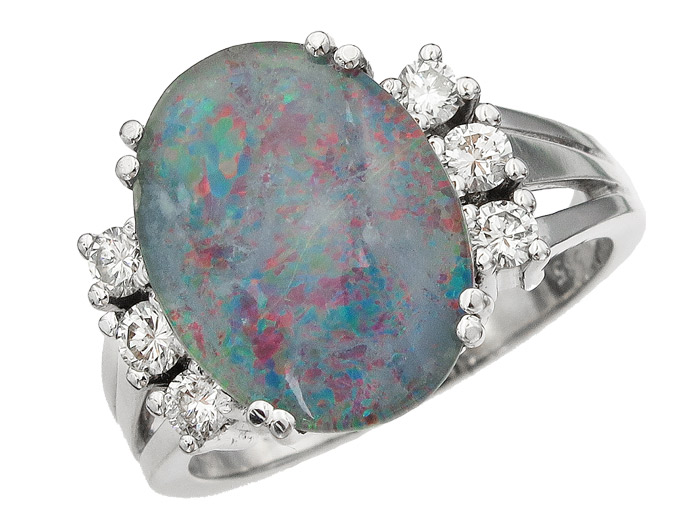 Ring Opals Diamonds 14 Karat White Gold approx. 1985
