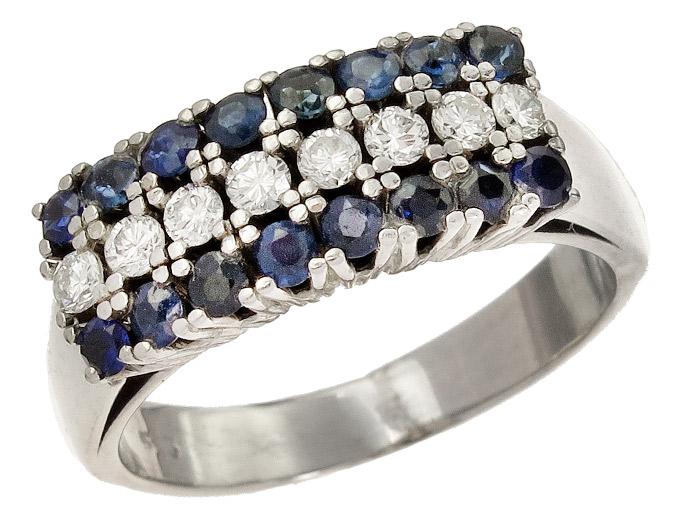 Ring Diamonds Sapphires 14 Karat White Gold