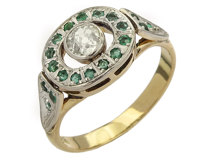 Ring Diamond Cushion Cut Emerald 585er Gelbgold