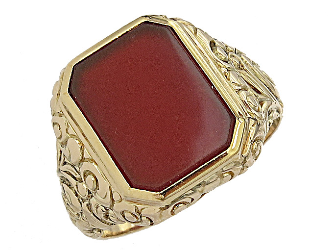 Ring Carnelian 14 Karat Yellow Gold