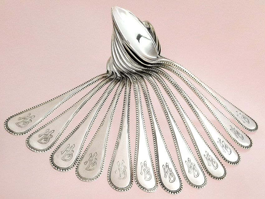 Coffee Spoon Dessert Spoon Pearl Pattern 800 Silver German