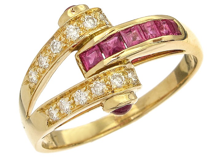 Ring Diamonds Rubies 18 Karat Yellow Gold