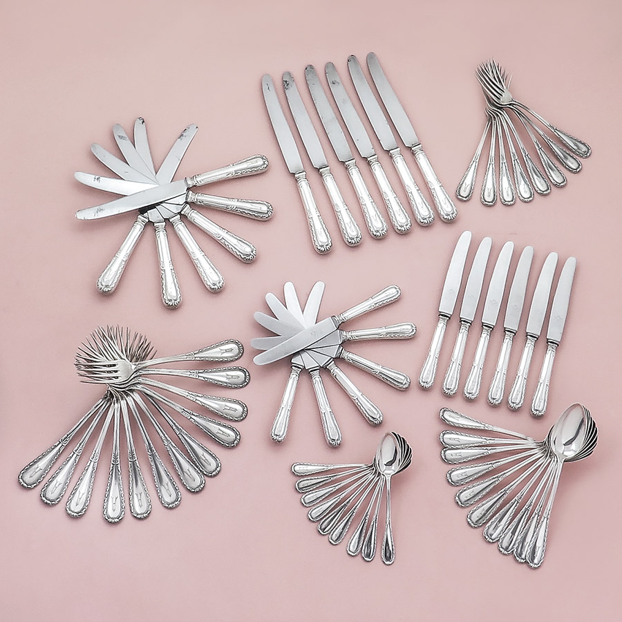 Silver Cutlery Koch & Bergfeld Louis XVL Design 800 Silver
