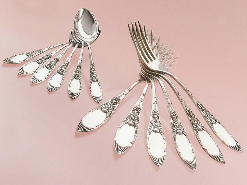Forks Teaspoons Art Nouveau around 1910 Koch and Bergfeld Silver Plated