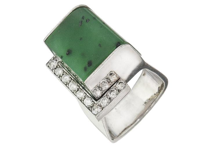 Ring Jade Diamonds 18 Karat White Gold Certificate approx. 1970