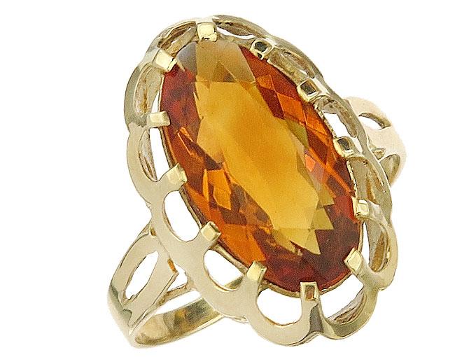Ring Citrine 8 Karat Yellow Gold Retro