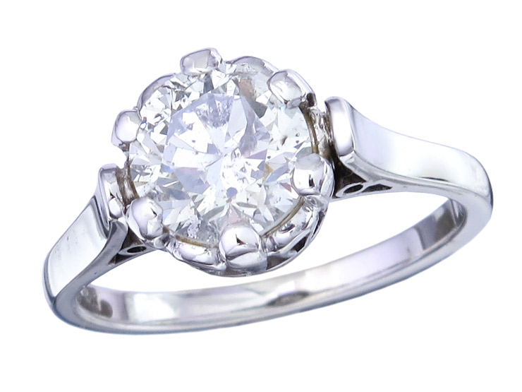 Ring Solitaire Diamond 14 Karat White Gold
