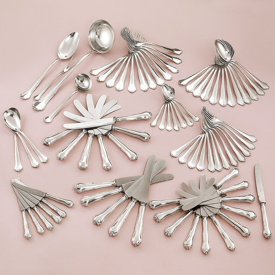 Menue Cutlery 800 Silver Chippendale arond 1930 HTB