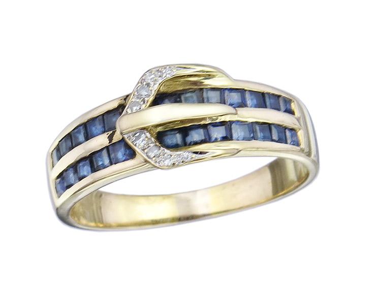 Gürtel Ring Saphire Diamanten 750er Gelbgold
