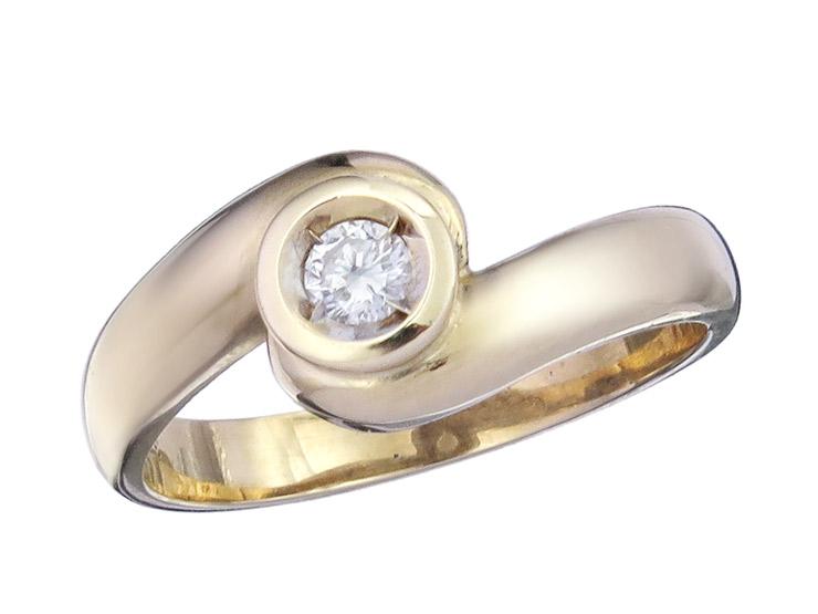Ring Solitaire Diamond 14 Karat Yellow Gold