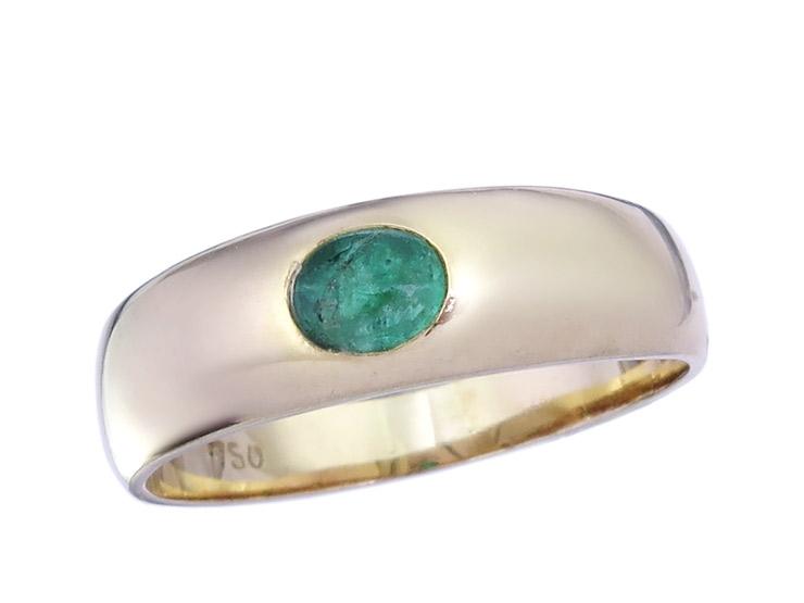 Band Ring Smaragd 750er Gelbgold