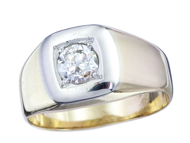 Ring Solitaire Old Cut Diamond 14 Karat Yellow Gold Antique approx. 1920