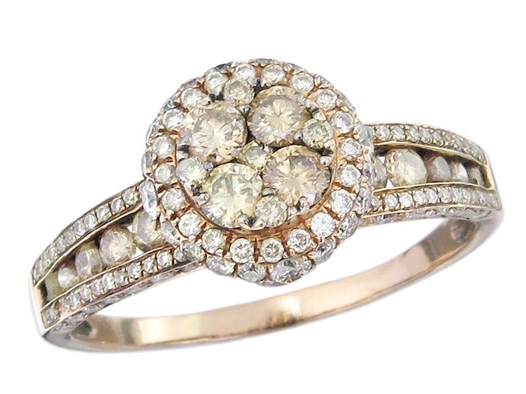 Ring Braune Diamanten und Brillanten 585er Roségold