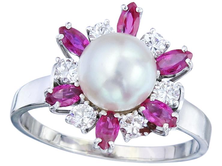 Ring Perle Rubine Brillanten 585er Weißgold ca. 1965-70