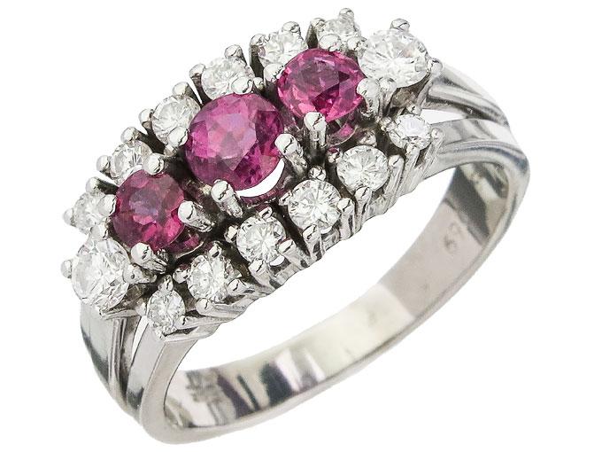 Ring Rubies Diamonds 14 Karat White Gold approx. 1965-70