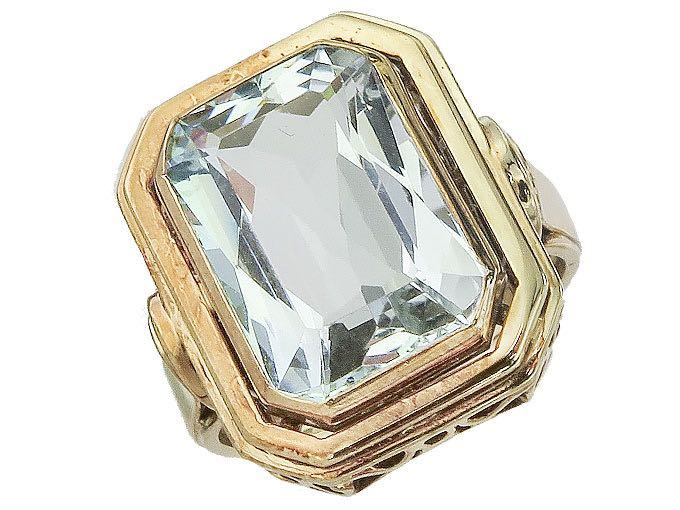Ring Blue Synthesis Stone 8 Karat Rose Gold Art Deco