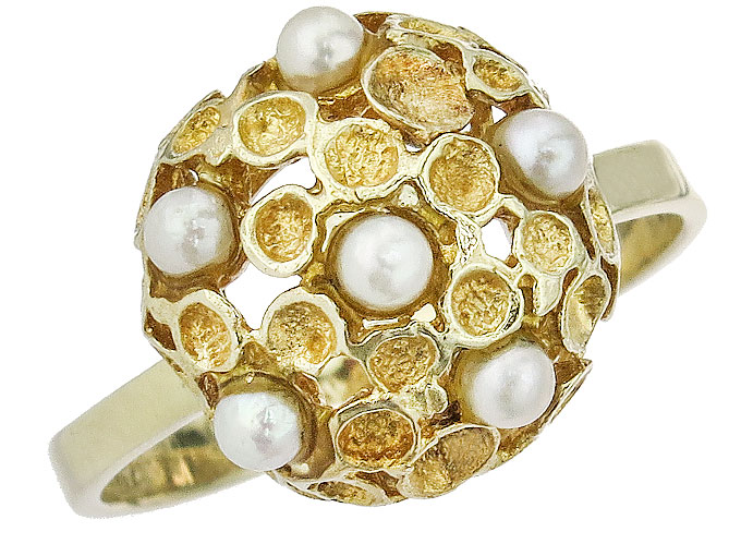 Ring Pearls 14 Karat Yellow Gold