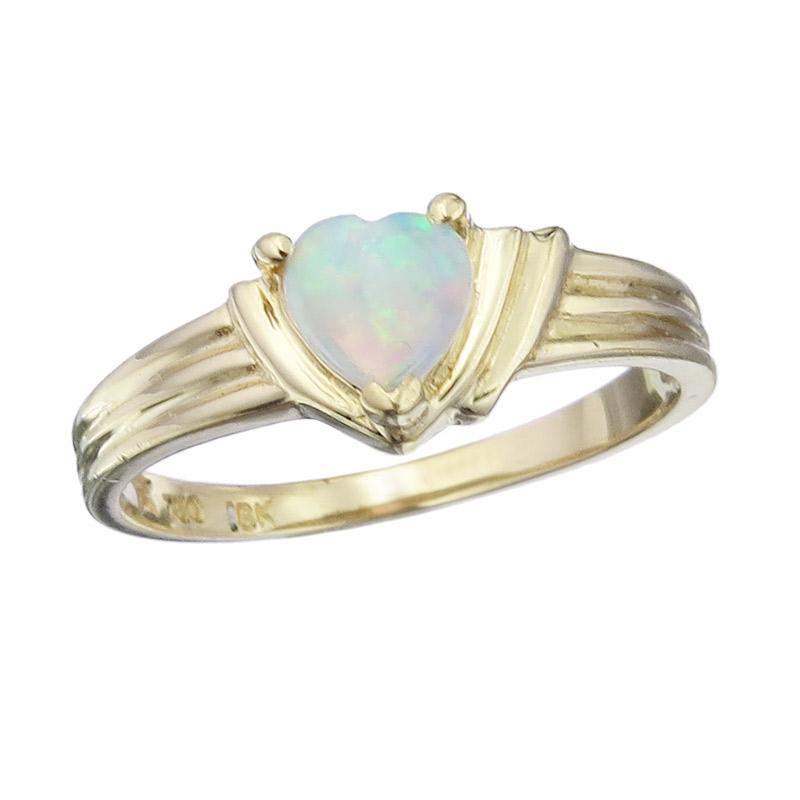 Ring Opal Herz 750er Gelbgold