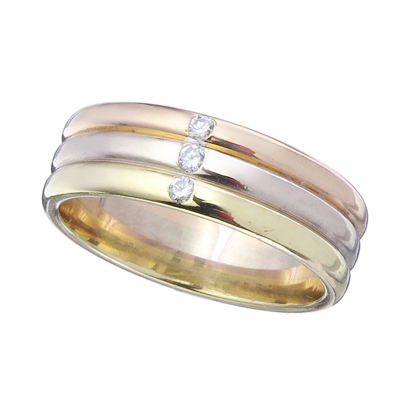 Ring Diamonds 18 Karat Gold Tricolor