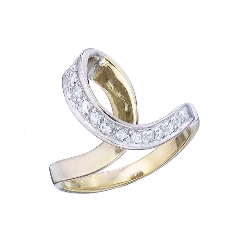 Ring Loop Diamonds 18 Karat Yellow and White Gold