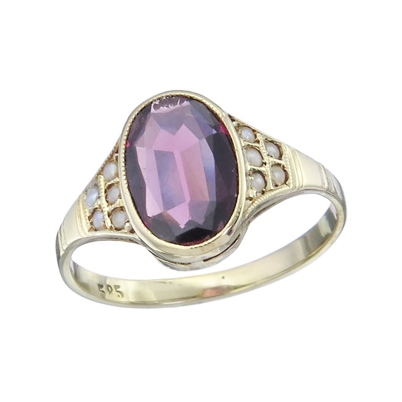 Ring Ruby Pearls 14 Yellow Gold Antique approx. 1920