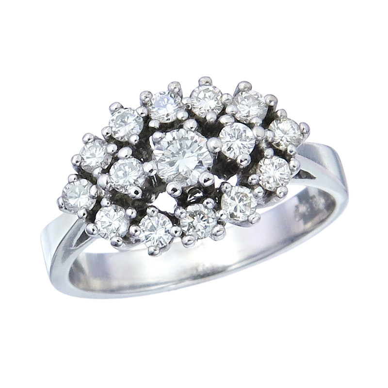 Ring Diamonds 14 Karat Weißgold