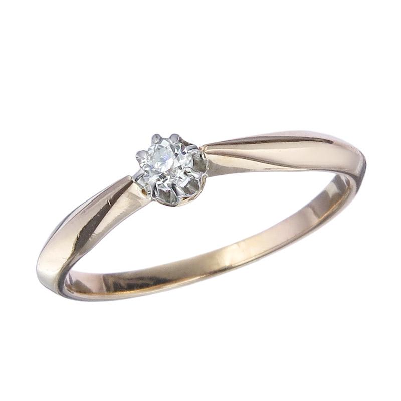 Solitär Ring Altschliff Diamant 585er Rotgold Antik ca. 1920