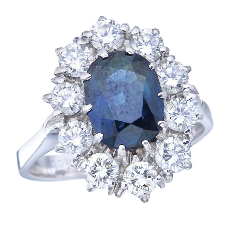 Ring Sapphires Diamonds 18 Karat White Gold