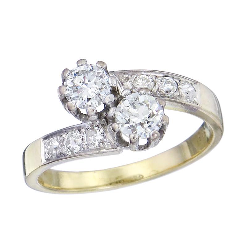 Ring Toi et Moi Brillant Diamanten 585er Gelb- und Weißgold