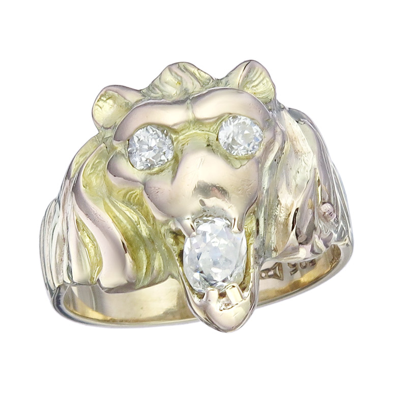 Ring Lion Head Diamonds 14 Karat Yellow Gold