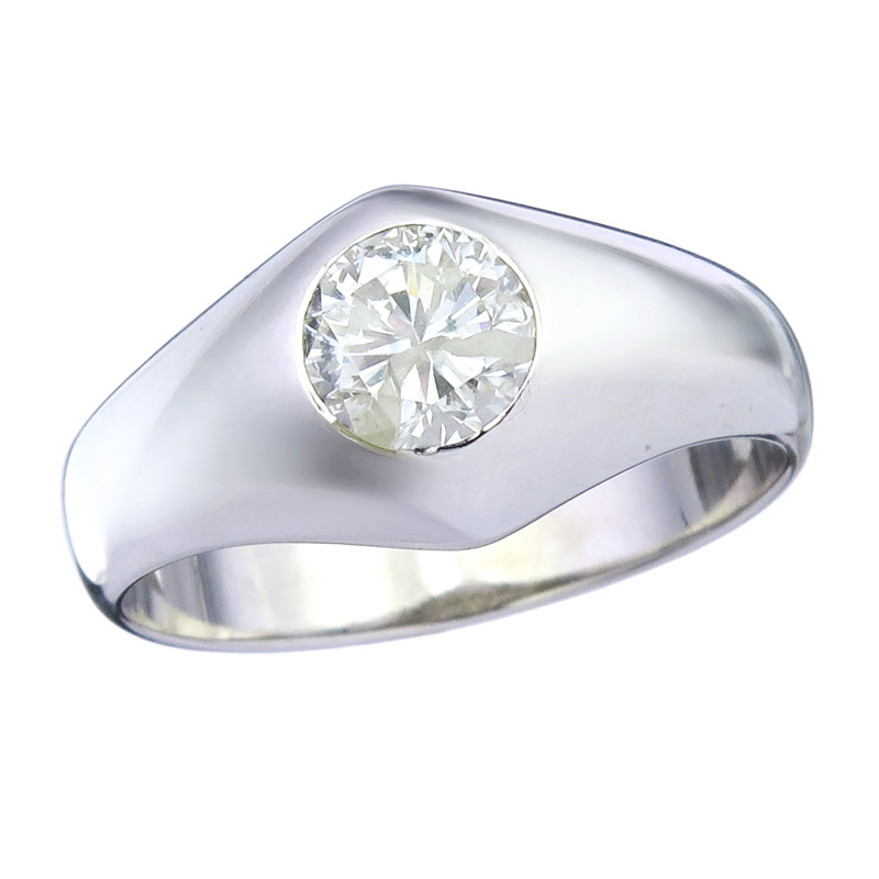 Ring Solitaire Brillant 18 Karat White Gold