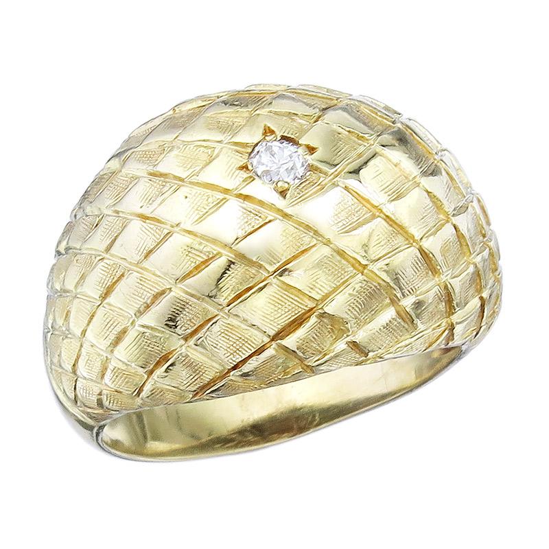 Ring Diamond 18 Karat Yellow Gold Retro approx. 1950