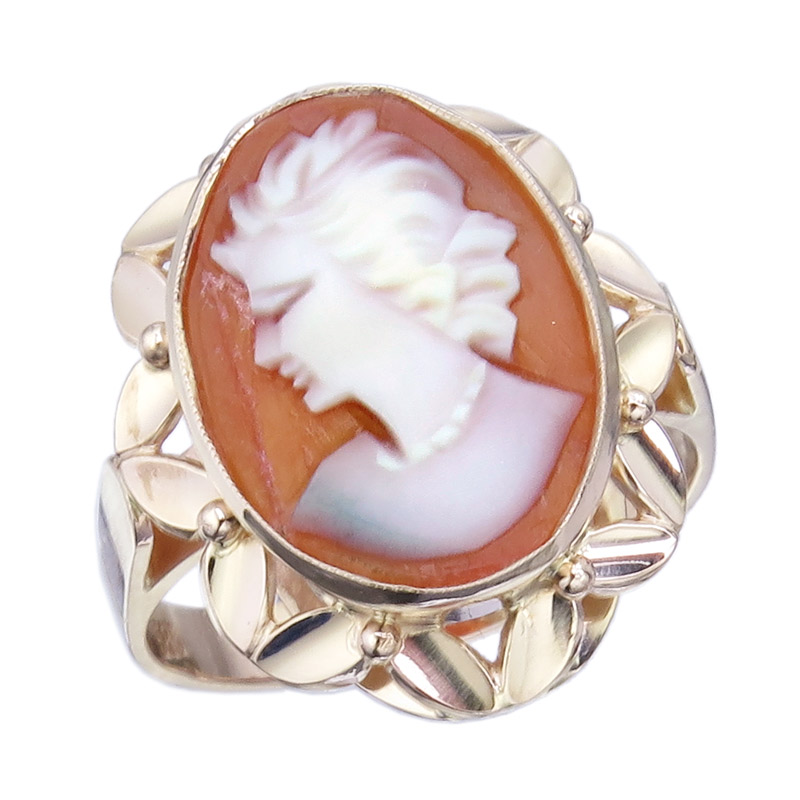 Ring Cameo 14 Karat Rose Gold Retro ca. 1940-50