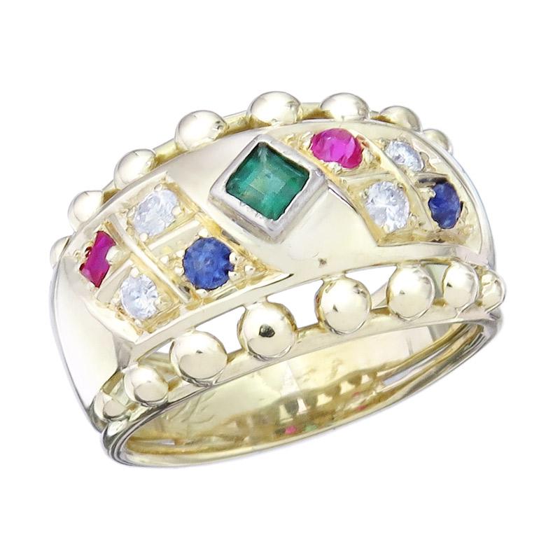 Ring Brillanten Farbsteine 585er Gelbgold um 1990