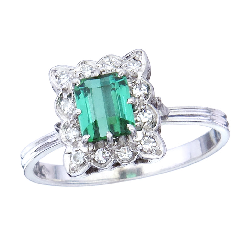Ring Turmalin Diamanten 750er Weißgold