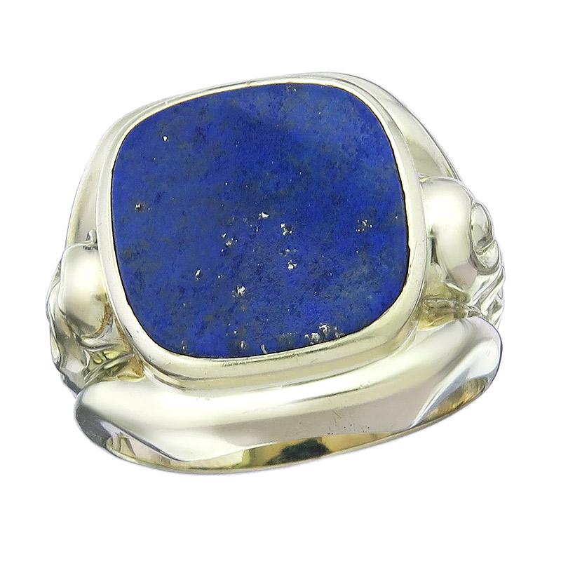 Ring Lapis Lazuli 14 Karat Yellow Gold Retro approx. 1950