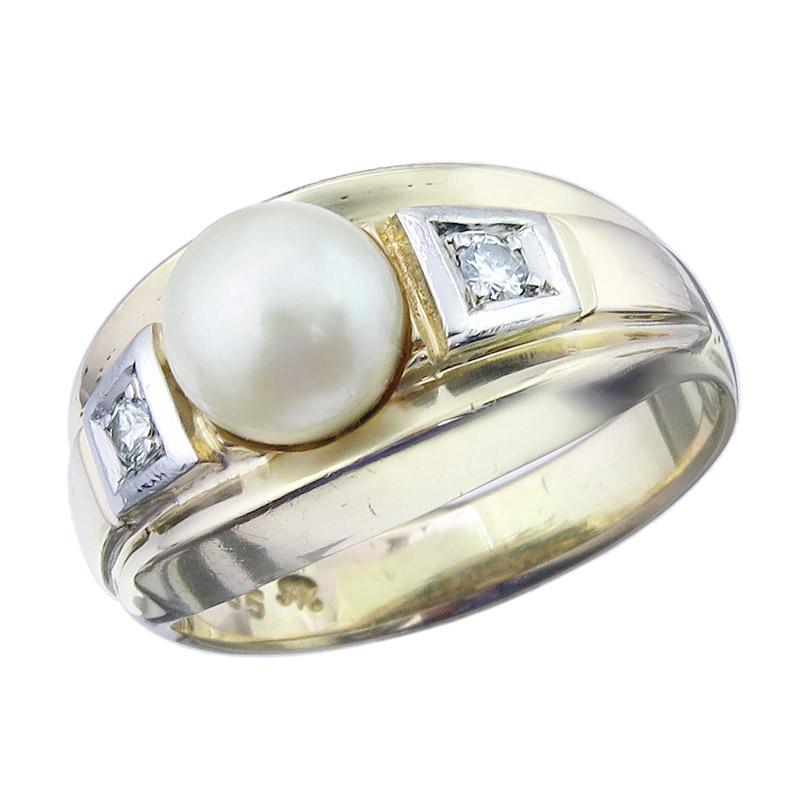 Ring Perle Brillanten 585er Gelb- und Weißgold