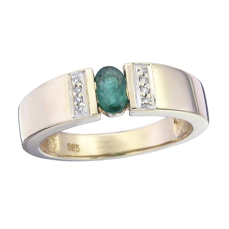 Ring Smaragd Diamanten 585er Gelbgold