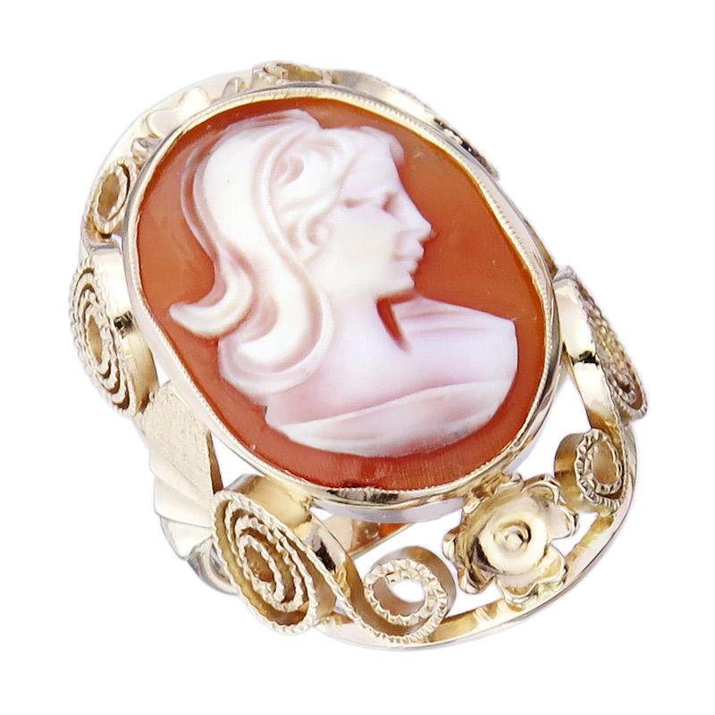 Ring Kameé 585er Roségold Retro ca. 1950-60