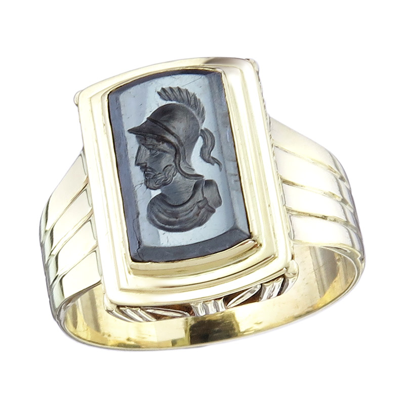 Siegel Ring Hämatit Gemme 585er Gelbgold Antik um 1910