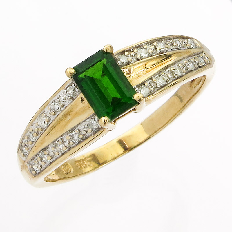 Ring Diopside Diamonds 14 Karat Yellow Gold