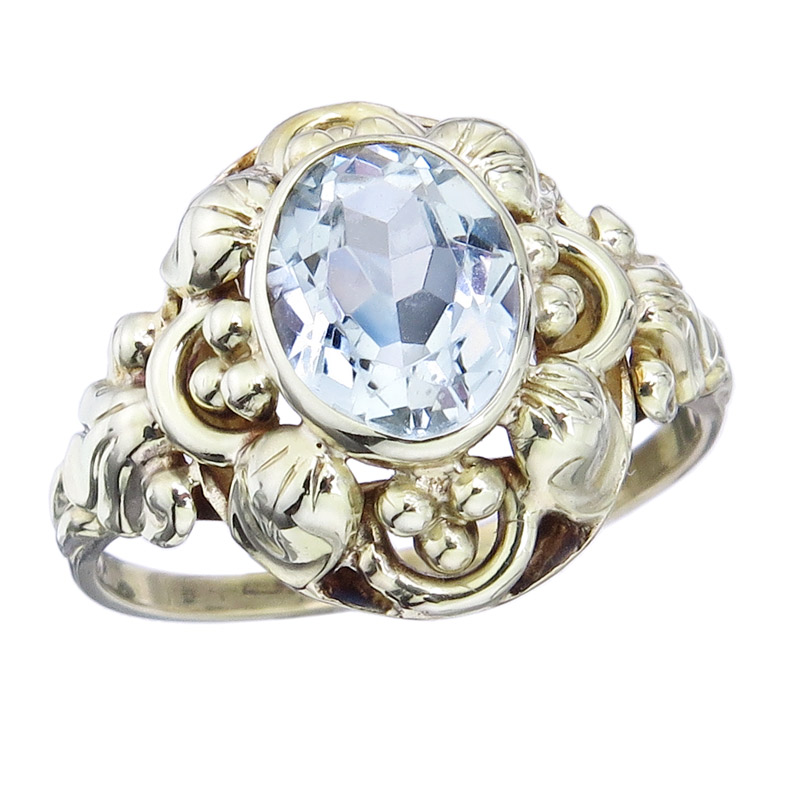 Ring Aquamarine 14 Karat Yellow Gold