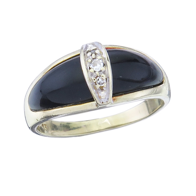 Ring Onyx Diamonds 14 Karat Yellow Gold