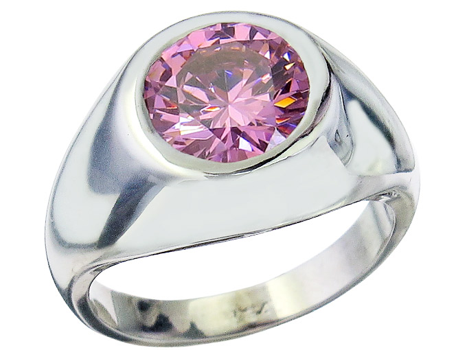 Ring Rosa Synthese Stein 750er Weissgold